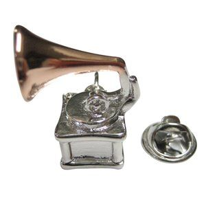 Two Toned Retro Musical Gramophone Lapel Pin